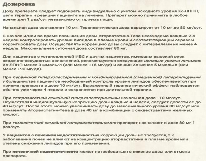 Схемы дозирования Аторвастатина
