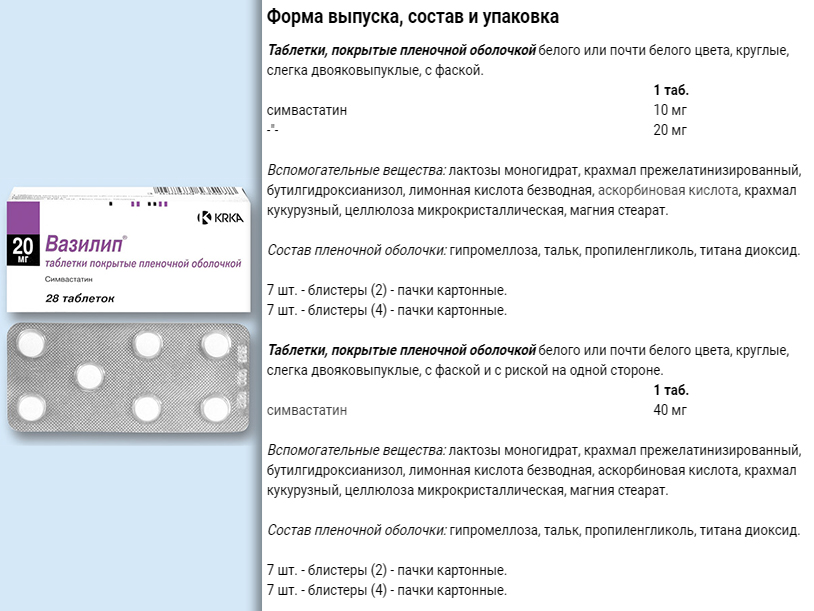 Форма выпуска препарата Вазилип