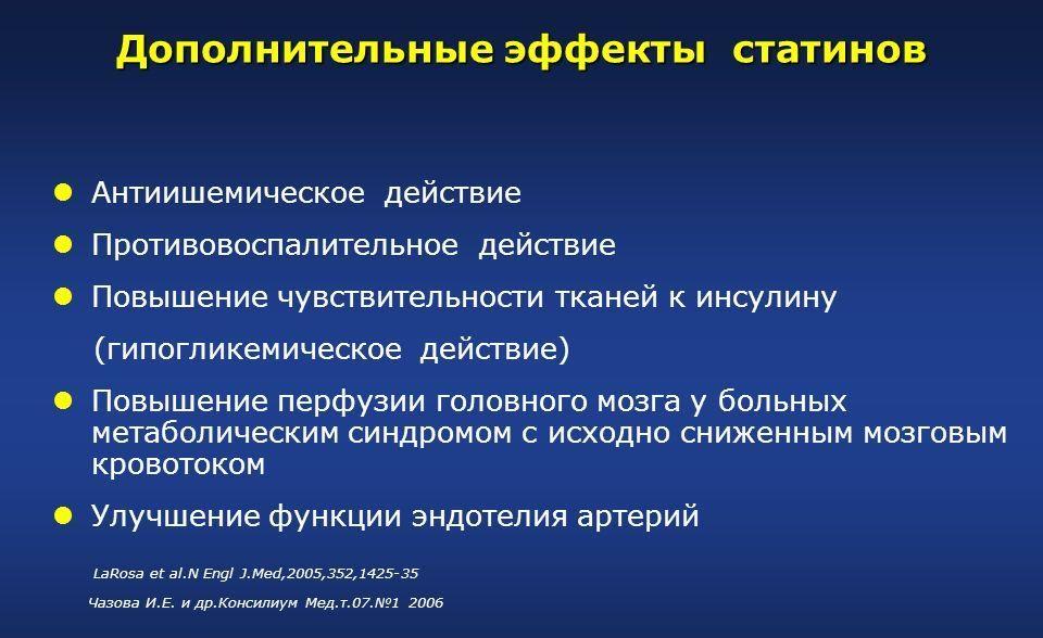 Дополнительные эффекты статинов