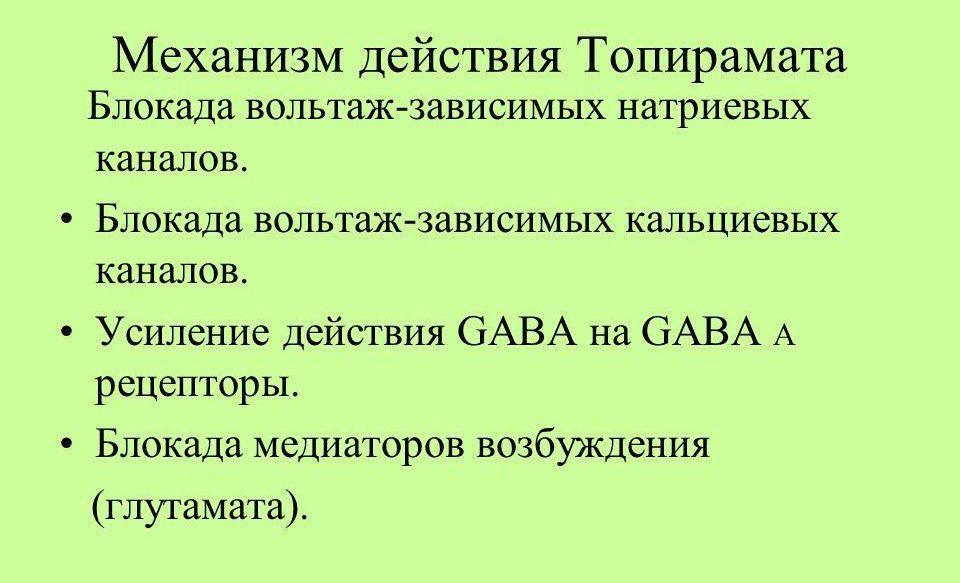 Механизм действия Топамакса