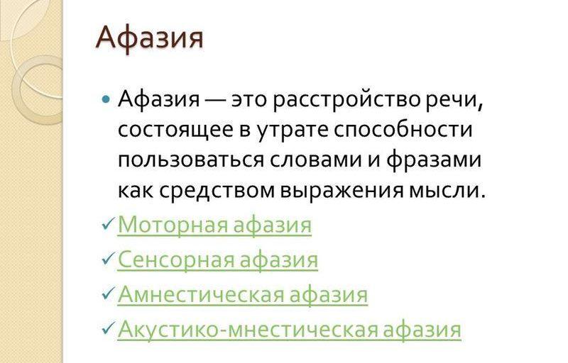 Определение афазии